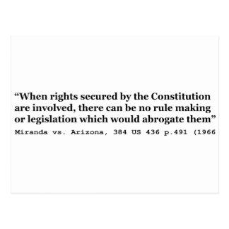 Miranda contra Arizona los 384 E.E.U.U. 436 p 491 Tarjetas Postales