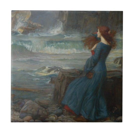 Miranda (la tempestad) azulejo cuadrado pequeño
