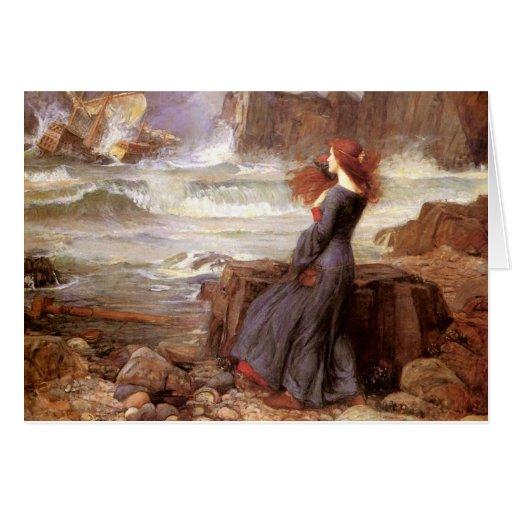 Miranda la tempestad de John William Waterhouse Tarjeta De Felicitación