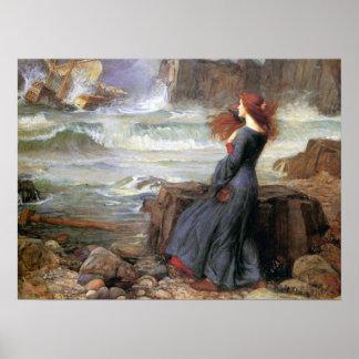 Miranda - la tempestad - John William Waterhouse Poster
