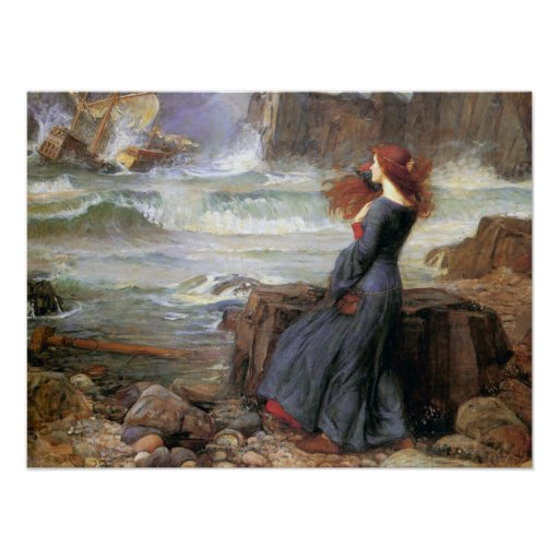 Miranda - la tempestad - John William Waterhouse Póster