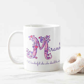 Miranda name meaning heart flower M monogram mug