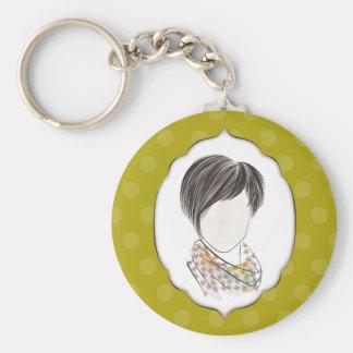 Miranda - portrait of a woman basic round button keychain