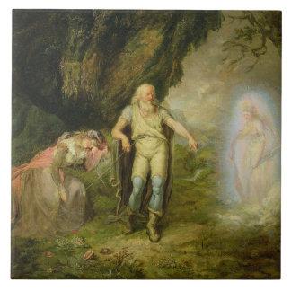 """Miranda, Prospero y Ariel, """"de la tempestad"""" cerca Azulejo Cuadrado Grande"""