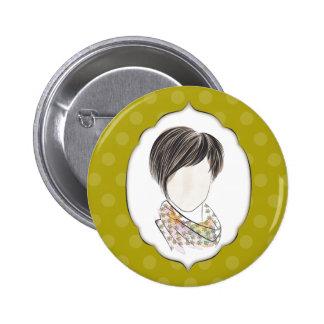 Miranda - retrato de una mujer pin redondo de 2 pulgadas