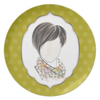 Miranda - retrato de una mujer plato para fiesta