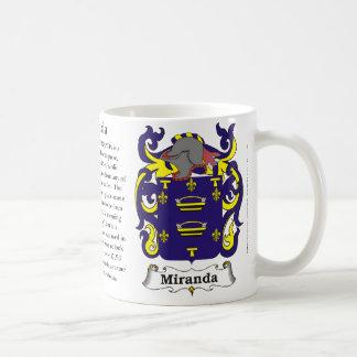 Miranda, the origin, meaning and the crest coffee mug