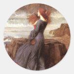 Miranda The Tempest by John William Waterhouse Round Stickers
