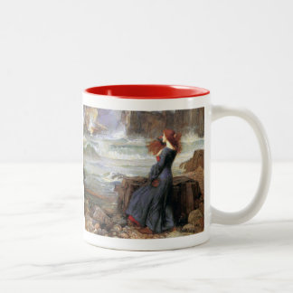 Miranda - The Tempest - John William Waterhouse Two-Tone Coffee Mug