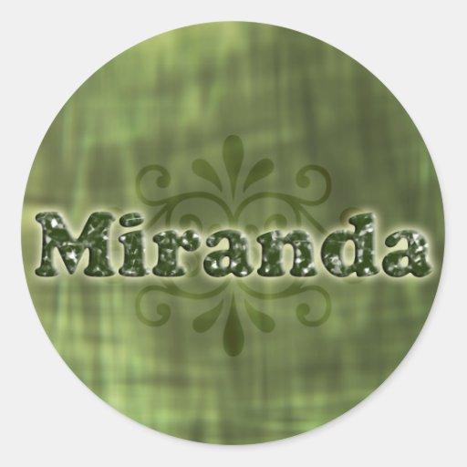 Miranda verde pegatina redonda