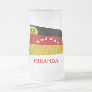 Miranda Waving Flag with Name Frosted Glass Beer Mug