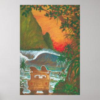Mirando al hombre de la puesta del sol perseguir y póster