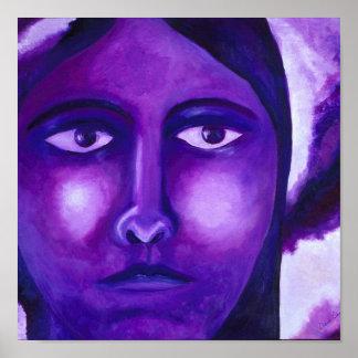 Mirando, compasión púrpura abstracta de la diosa poster