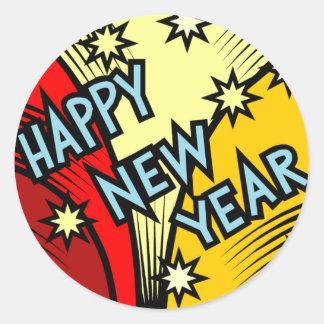 Mirando fijamente un Año Nuevo Pegatina Redonda