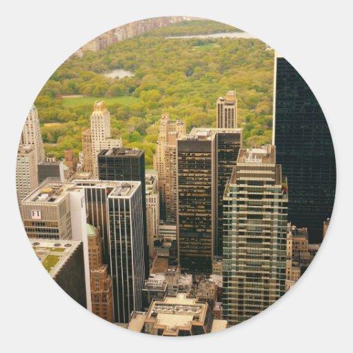 Mirando hacia fuera el Central Park desde arriba, Pegatina Redonda