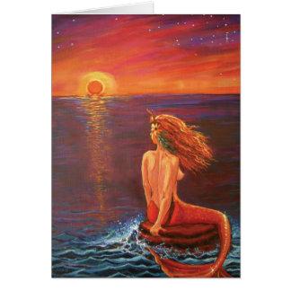 Mirando la puesta del sol - tarjeta de felicitació