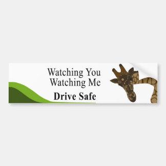 Mirándole jirafa pegatina para auto