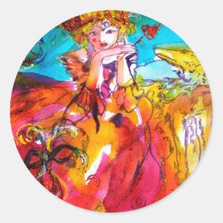 MIRANDOLINA , pink,fuchsia yellow Classic Round Sticker