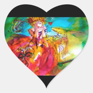 MIRANDOLINA , pink,fuchsia yellow Heart Sticker