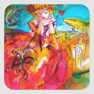 MIRANDOLINA , pink,fuchsia yellow Square Sticker