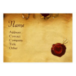 MIRANDOLINA RED WAX SEAL Parchment Monogram cream Large Business Card