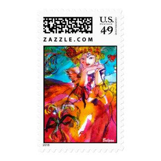 MIRANDOLINA ,Venetian Carnival Mask Postage Stamp