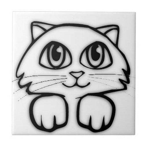 Mirar a escondidas el gatito azulejo cuadrado pequeño