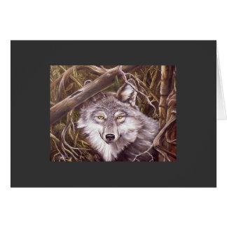 Mirar a escondidas el lobo tarjeta de felicitación