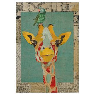 Mirar a escondidas la jirafa y el loro póster de madera