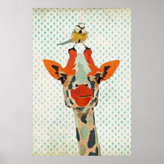 Mirar a escondidas la jirafa y el pequeño poster