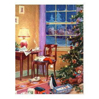 Mirar a escondidas la mañana de navidad intentand tarjetas postales