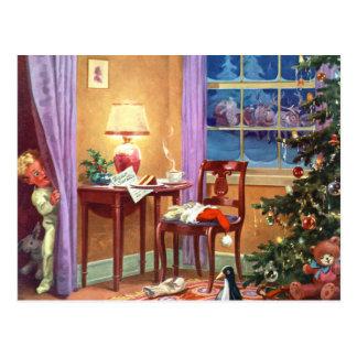 Mirar a escondidas la mañana de navidad intentand tarjeta postal