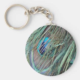 Mire a escondidas las plumas de un pavo real del llavero redondo tipo pin