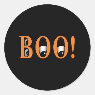 ¡Mire a escondidas un ABUCHEO! Ojos de Halloween Pegatinas Redondas