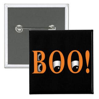 ¡Mire a escondidas un ABUCHEO! Ojos de Halloween Pin Cuadrado