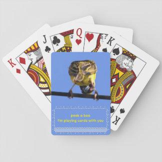 Mire a escondidas un chirrido del abucheo barajas de cartas