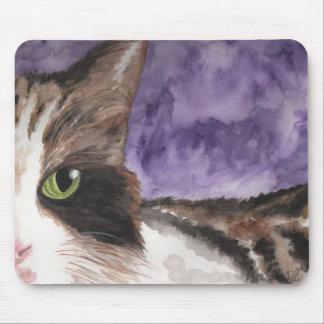Mire a escondidas un gato del gatito del calicó de mouse pads