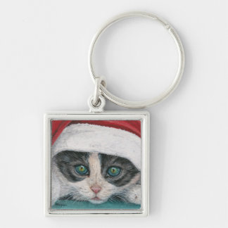 Mire a escondidas un gorra del navidad del gatito llavero cuadrado plateado