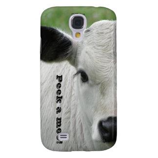 ¡Mire a escondidas un MOO! Vaca blanca