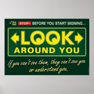 Mire alrededor de usted. un cartel del ASL Póster
