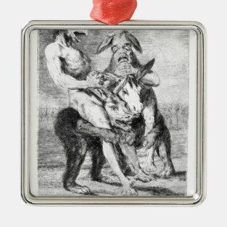 Mire cómo es solemne están por Francisco Goya Adorno Cuadrado Plateado