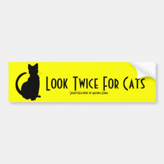 Mire dos veces para los gatos etiqueta de parachoque