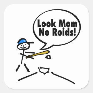 Mire el mA ningún béisbol de los esteroides Calcomanías Cuadradas Personalizadas