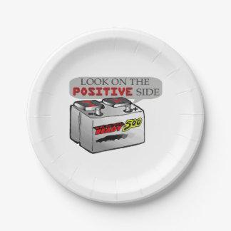 Mire en la batería divertida lateral positiva platos de papel
