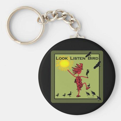 Mire escuchan aceituna del pájaro llavero redondo tipo pin