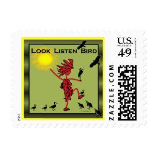 Mire escuchan aceituna del pájaro sello postal