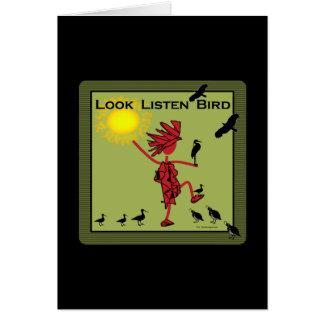 Mire escuchan aceituna del pájaro tarjeta de felicitación