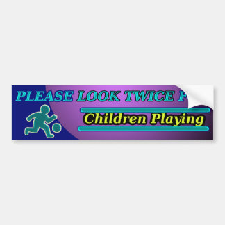¡Mire por favor dos veces para jugar de los niños! Pegatina De Parachoque