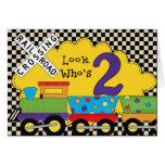 Mire quién es 2 tarjetas del tren del cumpleaños