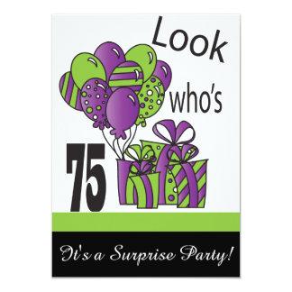 """Mire quién es 75.o cumpleaños del 75% el pipe% invitación 5"""" x 7"""""""